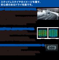 スタッドレスタイヤのイメージを覆す、安心感のあるドライ性能です。